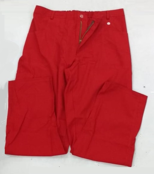 Calça de brim vermelha com ziper masculina e feminina