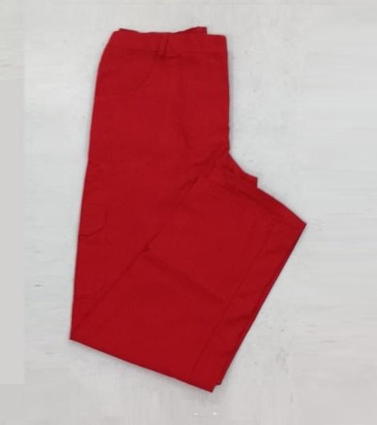 Calça de brim profissional vermelha masculina e feminina