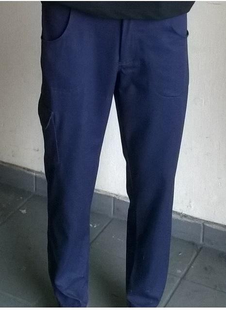 Calça de brim azul marinho masculina para uniforme com bolso lateral
