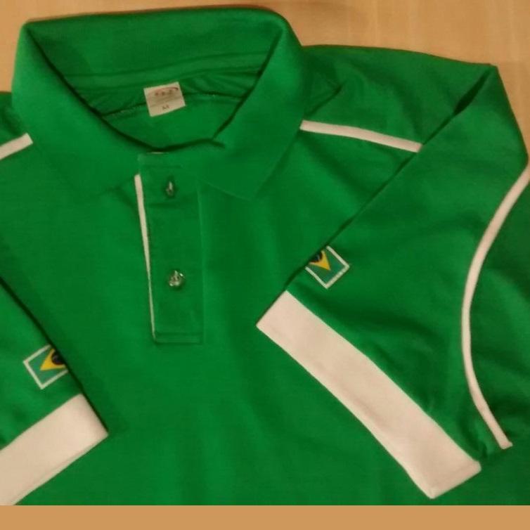 128a4ea3a8 Camisa gola polo masculina verde branca bordada personalizada em SP